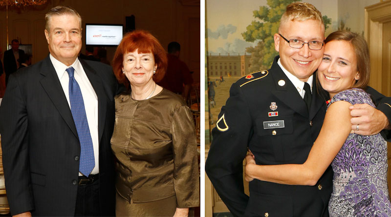 Jeff and Rose Gault, Luncheon Chairs; US Army Private First Class Marty Nance, and his wife, Samantha Nance, a 2015 Fluor Honorary Scholarship recipient